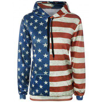 Front Pocket American Flag Print Outerwear Hoodie
