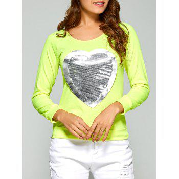 Long Sleeve Heart Sequin T-Shirt