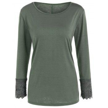 Lace Trim Long Sleeve T Shirt - ARMY GREEN ARMY GREEN