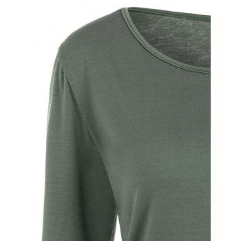 Lace Trim Long Sleeve T Shirt - ARMY GREEN S