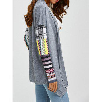 Printed Spliced Sleeve Asymmetric Cardigan