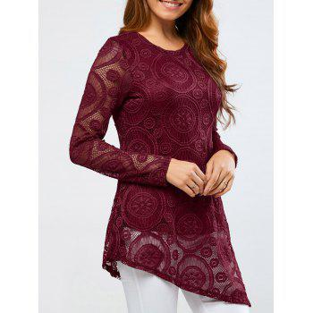 Openwork Sleeve Lace Asymmetrical Blouse