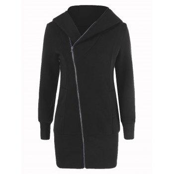 Inclined Zipper Long Hoodie