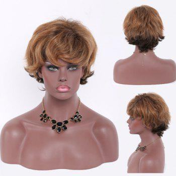 Fashional Heat Resistant Fiber Mixed Color Shaggy Curly Short Side Bang Capless Women's Wig