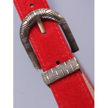 Trousers Wear Embellished Geometric Pin Buckle Belt - RED