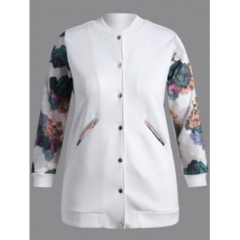 Buttoned Printed Coat WHITE