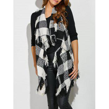 Fringed Plaid Sleeveless Cardigan