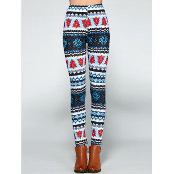Christmas Print Bodycon Leggings - COLORMIX ONE SIZE