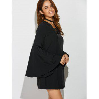 Bell Sleeve Lace Up Mini Dress - BLACK ONE SIZE
