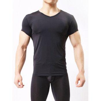 V-Neck Short Sleeve Basic Breathable T-Shirt