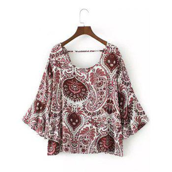 Flare Sleeve Tribal Print Boho Blouse