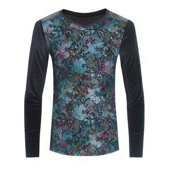 Flower Print Grid and PU-Leather Spliced Velvet T-Shirt