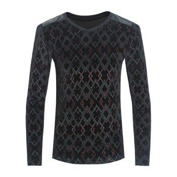 Argyle Print PU-Leather Spliced Velvet T-Shirt