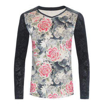 Flowers Print PU-Leather Spliced Velvet T-Shirt