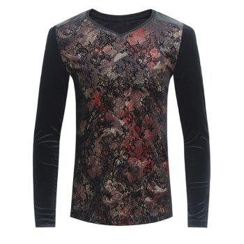 Florals Print Grid and PU-Leather Spliced Velvet T-Shirt