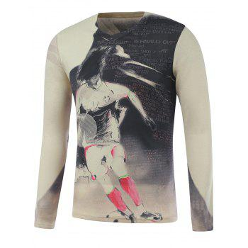 Long Sleeve Soccer Boy Print Plus Size T-Shirt