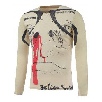 Long Sleeve Figure Face Print Plus Size T-Shirt