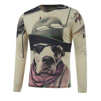 Long Sleeve Dog in the Hat Print Plus Size T-Shirt