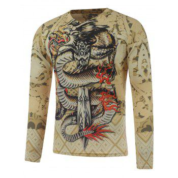 Long Sleeve Dragon and Sword Print Plus Size T-Shirt