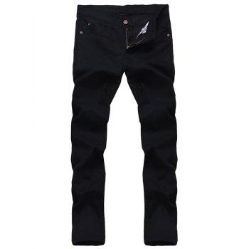 Solid Color Zipper Fly Men's Straight Leg Jeans