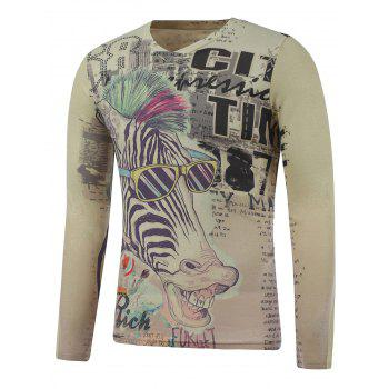 Buy Long Sleeve Zebra Print Plus Size T-Shirt COLORMIX