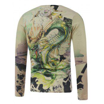Long Sleeve Dragon in the Sky Print Plus Size T-Shirt - COLORMIX 5XL