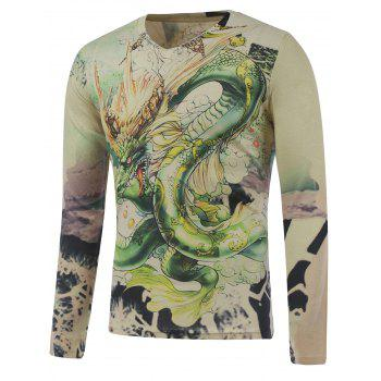 Long Sleeve Dragon in the Sky Print Plus Size T-Shirt