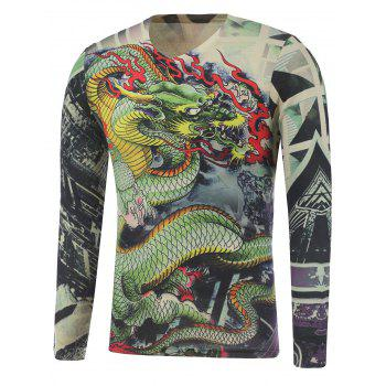 Long Sleeve Dragon and Geometric Print Plus Size T-Shirt