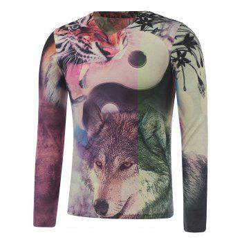 Long Sleeve Animals Print Plus Size T-Shirt