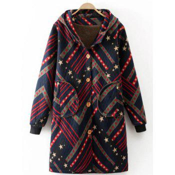 Hooded Star Print Striped Long Coat