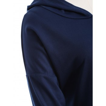 Plus Size Drop Shoulder with Pocket Hoodie - PURPLISH BLUE XL
