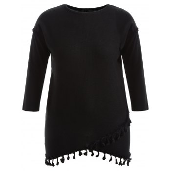 Fringed Asymmetric Long Sleeve Dress
