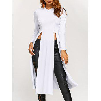 Round Neck High Slit Long T-Shirt