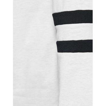 Striped Button Embellished T-Shirt - WHITE WHITE