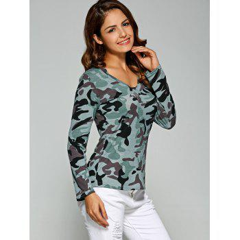 Army Camo Print Long Sleeve Slimming T-Shirt - LIGHT BLUE S