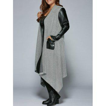 Plus Size PU Patchwork Long Asymmetrical Coat