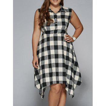 Sleeveless Asymmetrical Plaid Dress