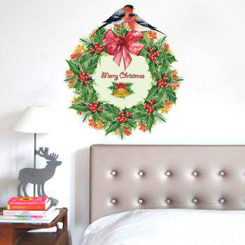 Christmas Wreath Glass Window Removable Wall Stickers