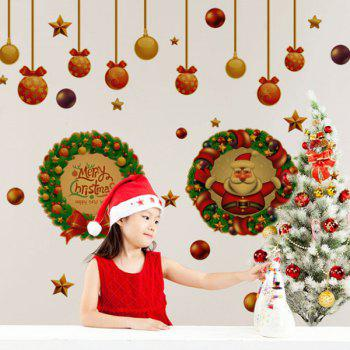 Festival Christmas Wreath Glass Window Removable Wall Stickers