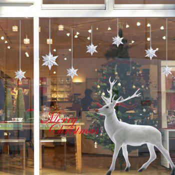 Christmas Elk Glass Window Removable Wall Stickers - WHITE