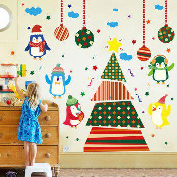 Removable Colorful Christmas Penguins Children's Room Wall Stickers