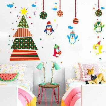 Removable Colorful Christmas Penguins Children's Room Wall Stickers - COLORFUL