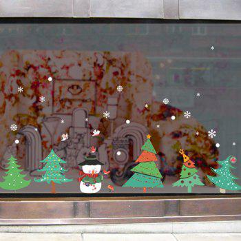 Christmas Trees Glass Window Removable Wall Stickers - GREEN