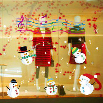 Christmas Music Snowmans Glass Window Removable Wall Stickers