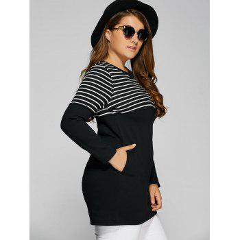 Striped Plus Size Tunic T-Shirt with Pocket - BLACK 3XL