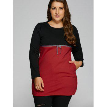 Plus Size Tunic Color Block Panel T-Shirt - RED 2XL