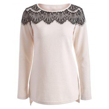 Lace Insert High Low T Shirt