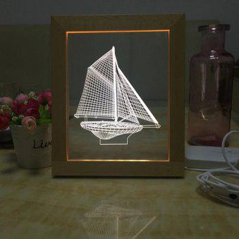 USB 3D Sailing Ship Wooden Photo Frame Night Light