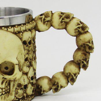 Double Wall Stainless Steel with Handle Resin Skull Mug - YELLOW