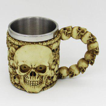 Double Wall Stainless Steel with Handle Resin Skull Mug - YELLOW YELLOW